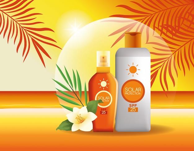 Zonnebescherming flessen producten voor de zomer Gratis Vector