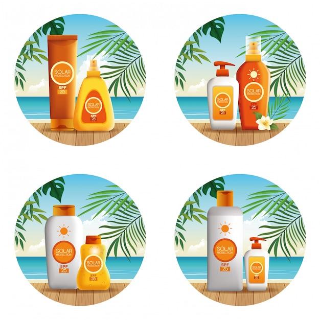 Zonnebescherming flessen producten voor zomer ronde pictogram Gratis Vector