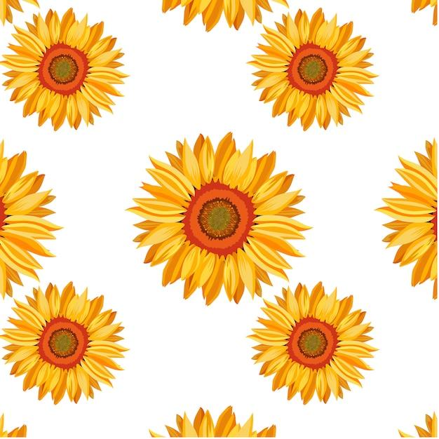 Zonnebloem patroon achtergrond Gratis Vector