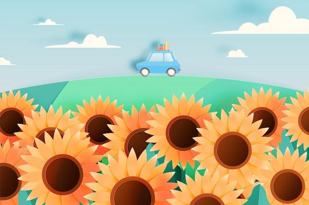 Zonnebloemgebied met de auto van de wegreis en document kunststijl en de vectorillustratie van de pastelkleurregeling Premium Vector