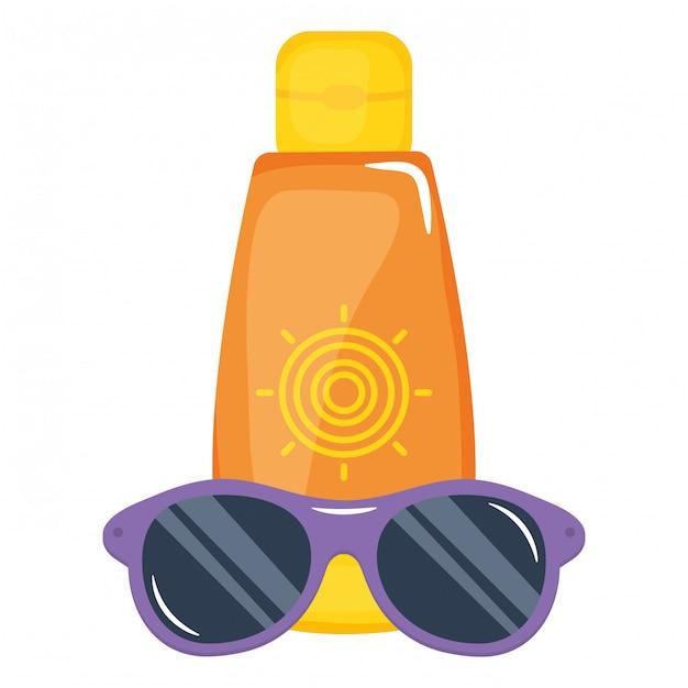 Zonneblokkerfles met zonnebrilaccessoire Premium Vector