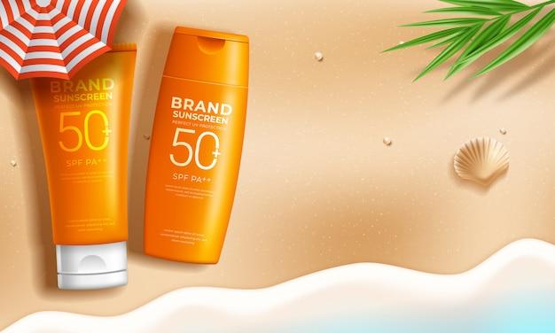 Zonnebrandcrème advertenties op ontspannen zomer strandscène Premium Vector