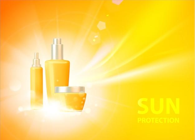 Zonnebrandcrème bescherming tegen de zon achtergrond Premium Vector
