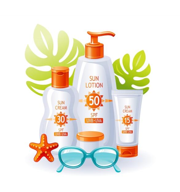 Zonnebrandcrème flessen. zon strand zomer vector. sunblock uv-product. cosmetische lotion voor huidverzorging. platte advertentie-ontwerp. bescherming zonnebrandcrème, zonnebril, zeester, tropisch blad. Premium Vector