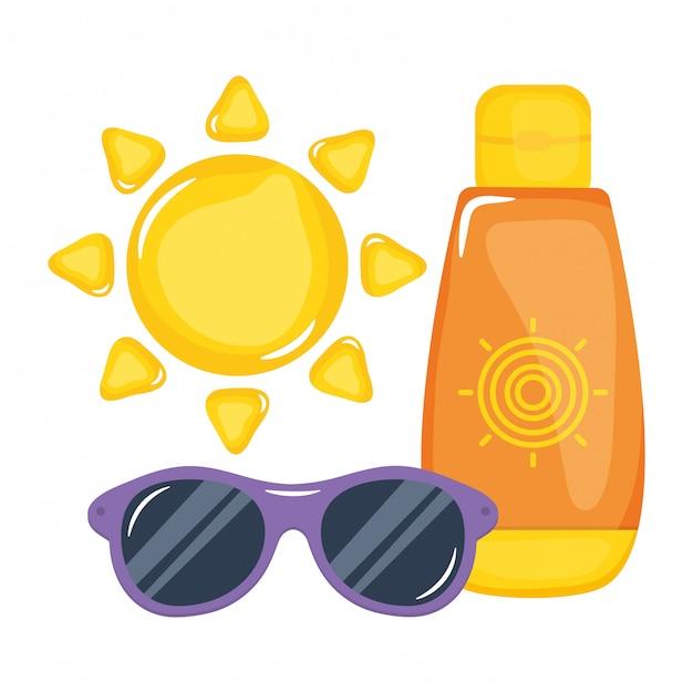 Zonnebrandfles met zonnebril en zon Premium Vector
