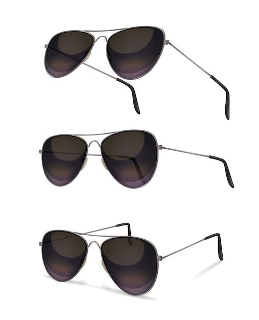 Zonnebril met realistische afbeeldingen van vliegerzonnebril vanuit verschillende invalshoeken met schaduwen op lege achtergrond Gratis Vector