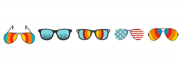 Zonnebril pictogramserie. vlakke set van zonnebrillen vector iconen collectie geïsoleerd Premium Vector