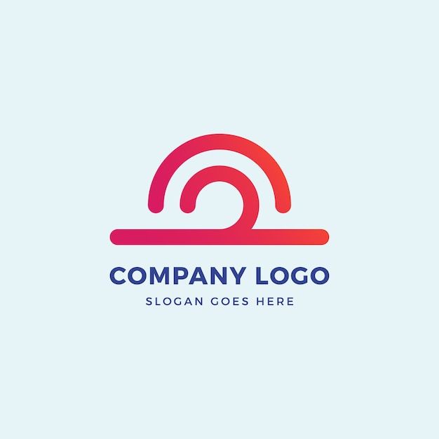 Zonnegolf logo ontwerpsjabloon Premium Vector