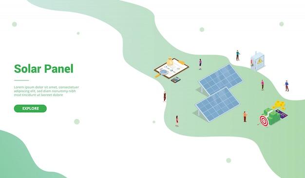 Zonnepaneel technologie bedrijf voor website sjabloon of startpagina met isometrische stijl Premium Vector