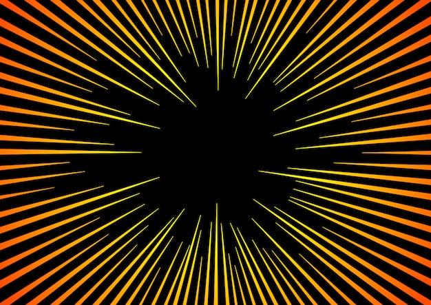Zonnestralen of explosieboom. hyper speed warp sun rays of explosion boom voor comic books radial background Premium Vector