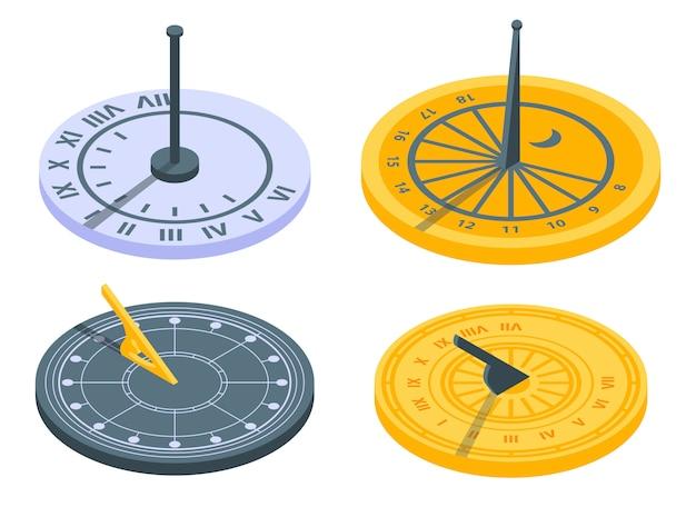 Zonnewijzer iconen set, isometrische stijl Premium Vector