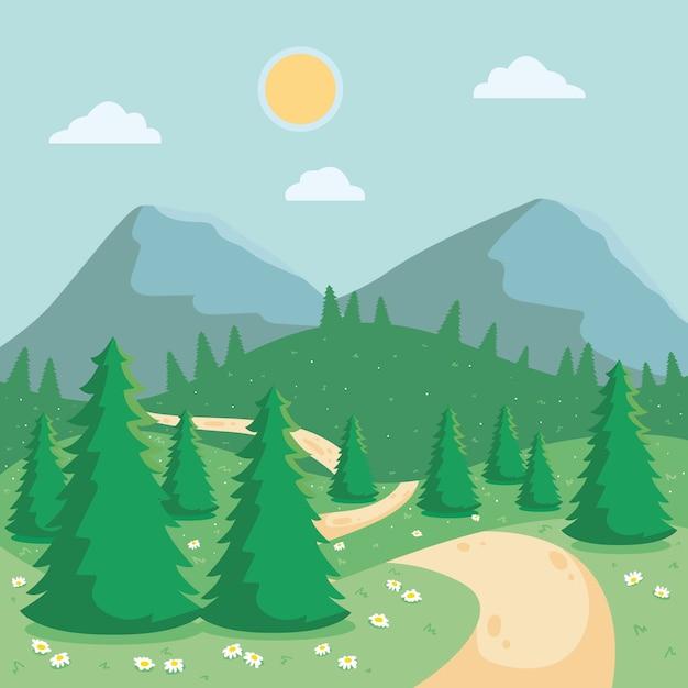 Zonnige dag met bergen en bos lente landschap Premium Vector