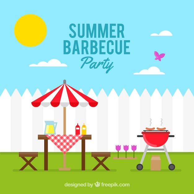 Zonnige dag met een barbecue partij achtergrond Gratis Vector