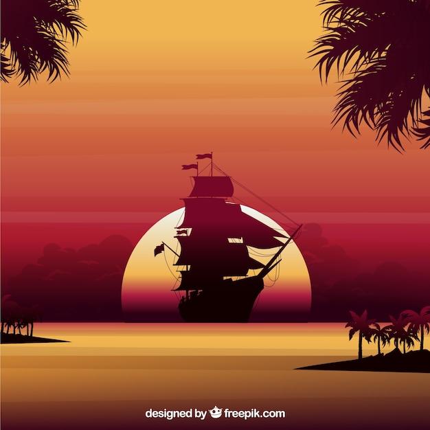 Zonsondergang achtergrond met boot silhouet Gratis Vector