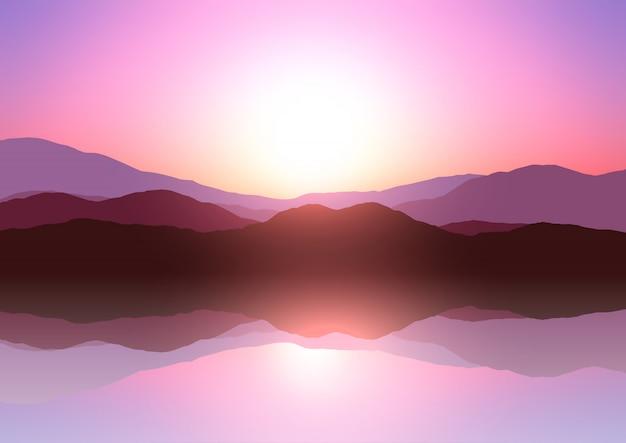 Zonsondergang berglandschap Gratis Vector