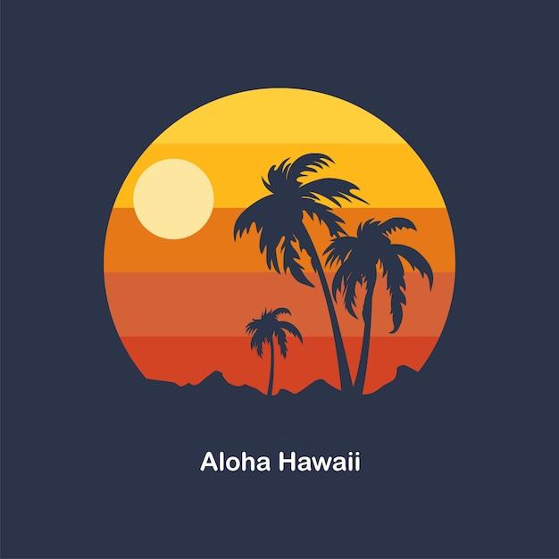 Zonsondergang bij aloha hawaii Premium Vector