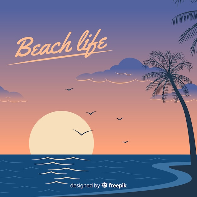 Zonsondergang op een strandachtergrond Gratis Vector