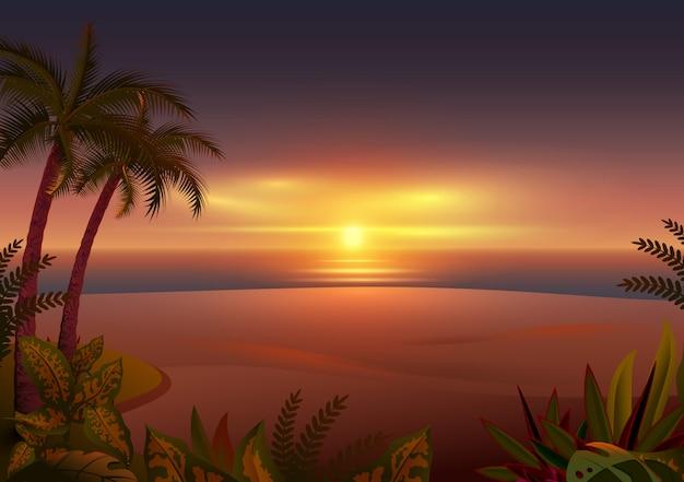 Zonsondergang op tropisch eiland. palmbomen, zee en strand Premium Vector