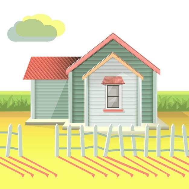 Zonsondergangachtergrond van een realistisch huis met tuin Gratis Vector