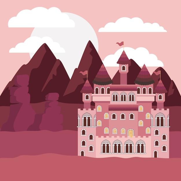 Zonsonderganglandschap met bergen en kasteel van sprookjes i Premium Vector