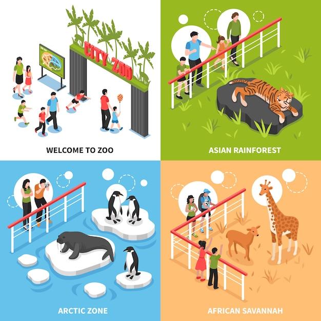 Zoo 2x2 isometrisch ontwerpconcept Gratis Vector