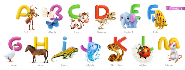 Zoo alfabet. grappige dieren, 3d geplaatste pictogrammen. letters a - m. mier, vlinder, koe, dinosaurus, olifant, vis, gans, paard, leguaan, kwal, koningscobra, lieveheersbeestje, muis. Premium Vector