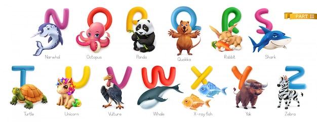 Zoo alfabet. grappige dieren, 3d geplaatste pictogrammen. letters n - z. narwal, octopus, anda, quokka, konijn, haai, schildpad, eenhoorn, gier, walvis, röntgenvis, jak, zebra Premium Vector