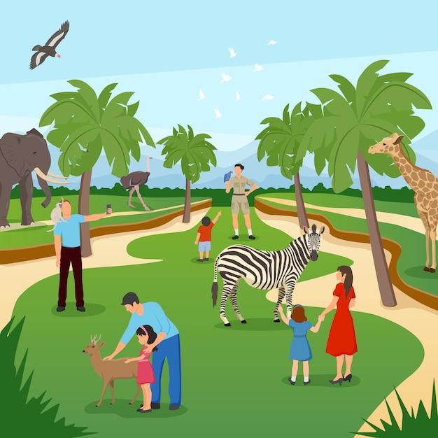 Zoo cartoon scène Gratis Vector