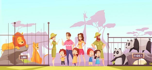Zoo family visit cartoon Gratis Vector