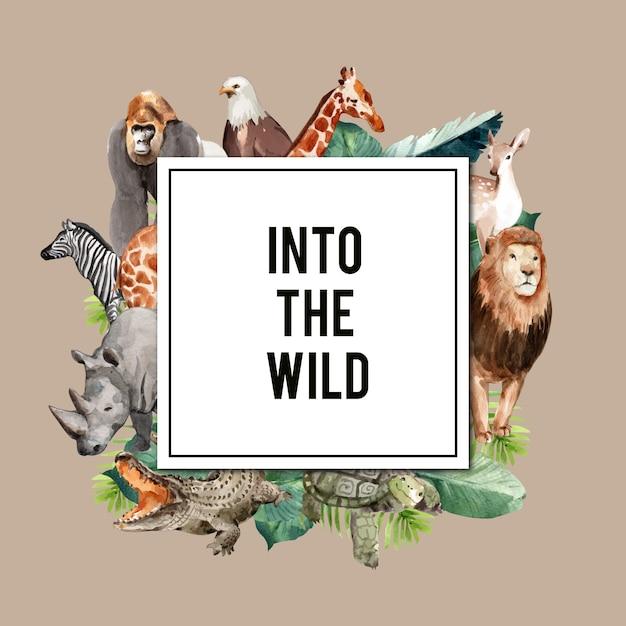 Zoo krans ontwerp met adelaar, gorilla, giraf, neushoorn aquarel illustratie, Gratis Vector