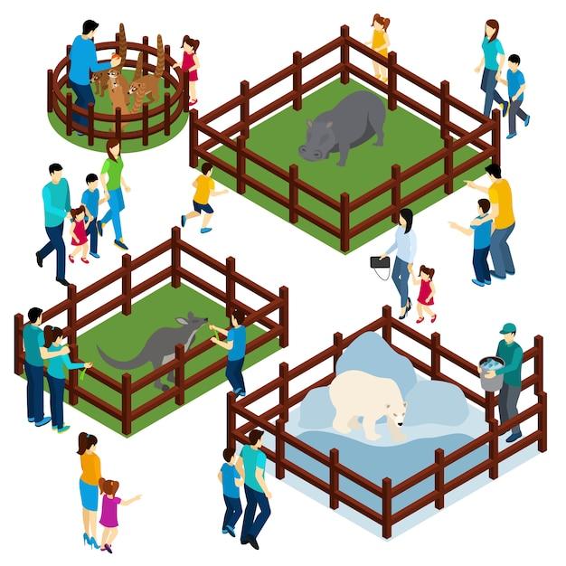 Zoo outdoor enclosures bezoekers isometrische banner Gratis Vector