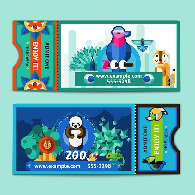 Zoo ticketset Gratis Vector