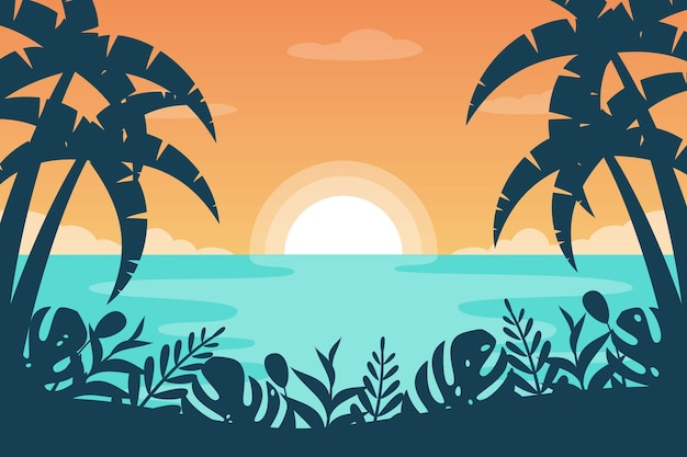 Zoomachtergrond met de zomerlandschap Gratis Vector