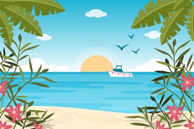 Zoombehang met zomerlandschap Premium Vector