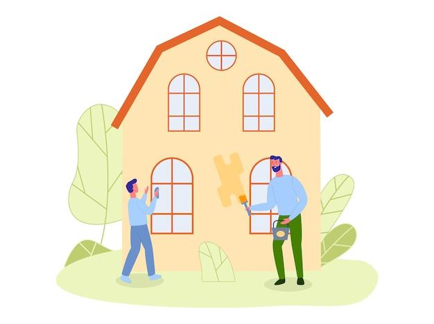 Zoon en vader, samen landhuis repareren Premium Vector