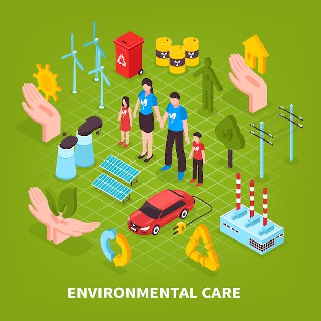 Zorg voor het milieu groene scène Gratis Vector