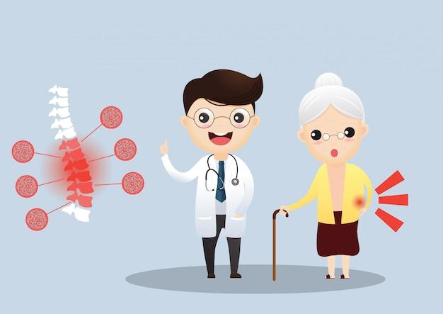 Zorg voor ouderen. arts die met bejaarde patiënt over haar symptomen spreekt. oude vrouw met osteoporose Premium Vector