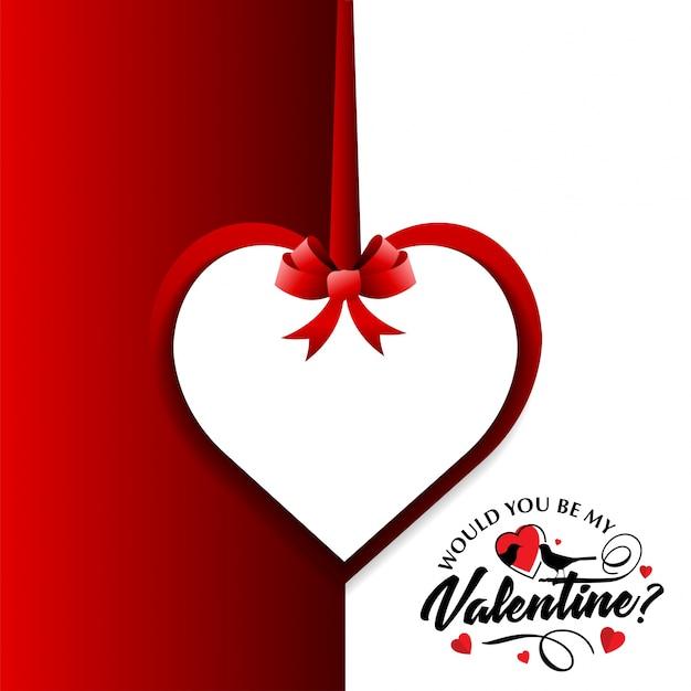 Zou je mijn valentijnskaart zijn met rode en witte achtergrond Gratis Vector