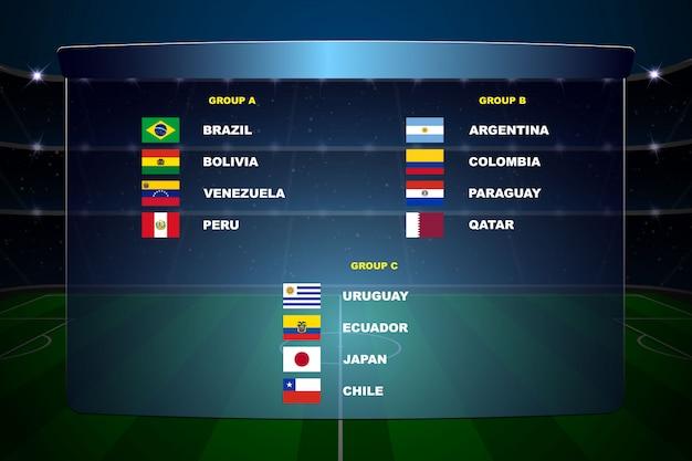 Zuid-amerikaanse voetbalbekergroepen Premium Vector