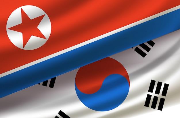Zuid- en noord-korea. vector achtergrond met vlaggen Premium Vector
