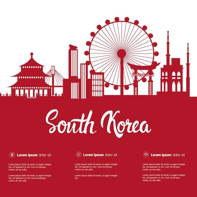Zuid-korea bezienswaardigheden silhouet seoul beroemde gebouwen uitzicht op de stad met monumenten op wit Premium Vector