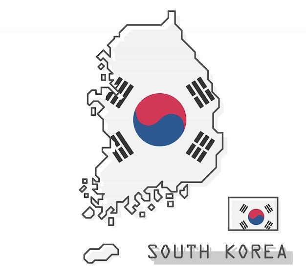 Zuid-korea kaart en vlag Premium Vector