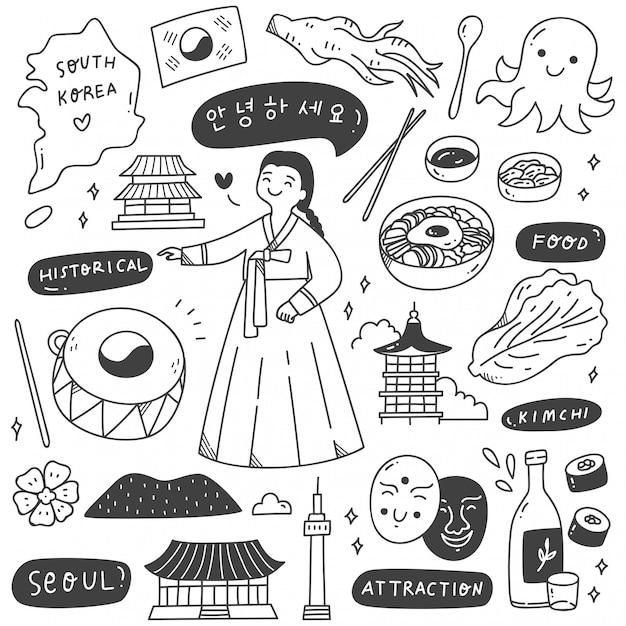 Zuid-korea reisbestemming doodle set Premium Vector
