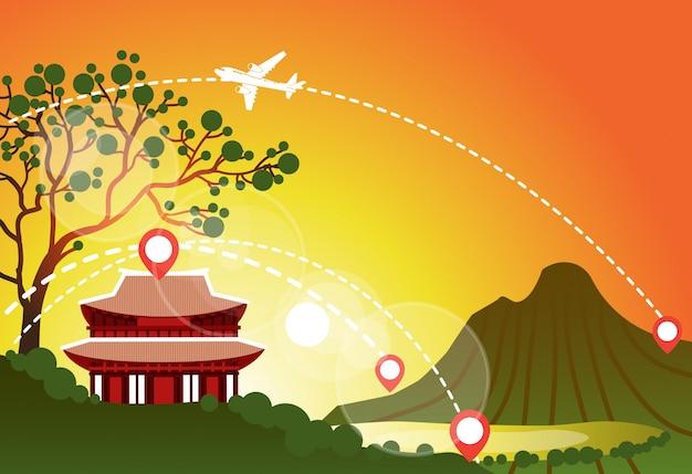 Zuid-korea reizen landmark landschap mooie tempel over zonsondergang in bergen bekijk aziatische reisbestemmingen concept Premium Vector