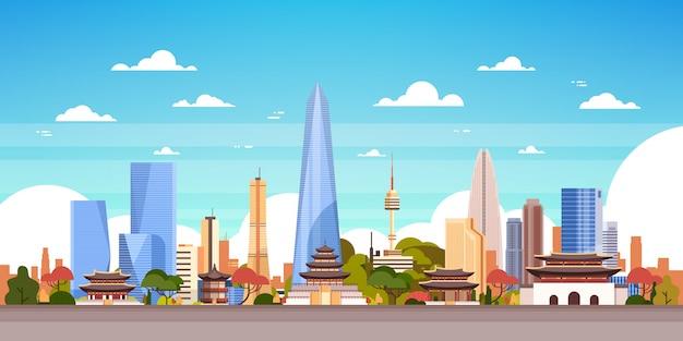 Zuid-korea skyline view Premium Vector