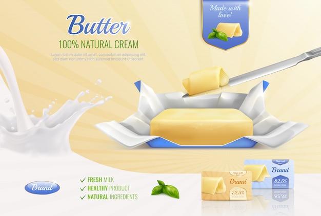 Zuivelboter realistische samenstelling als mockup voor reclamemerk met tekst verse melk gezonde product natuurlijke ingrediënten Gratis Vector