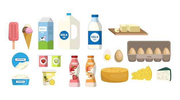 Zuivelproducten ingesteld. melk en eieren, kaas en yoghurt. Premium Vector