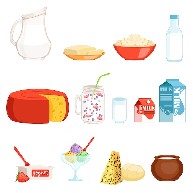 Zuivelproducten set, melk, boter, kaas, yoghurt, zure room, ijs illustraties Premium Vector