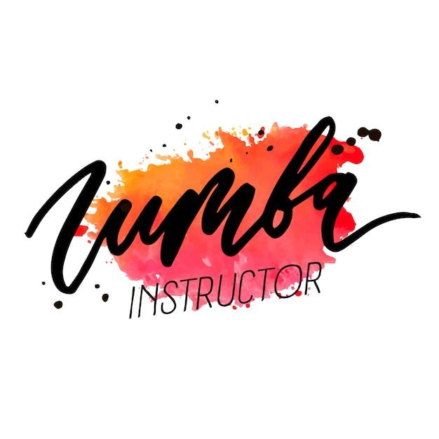 Zumba vector belettering aquarel woord tekstkleur popart dans Premium Vector