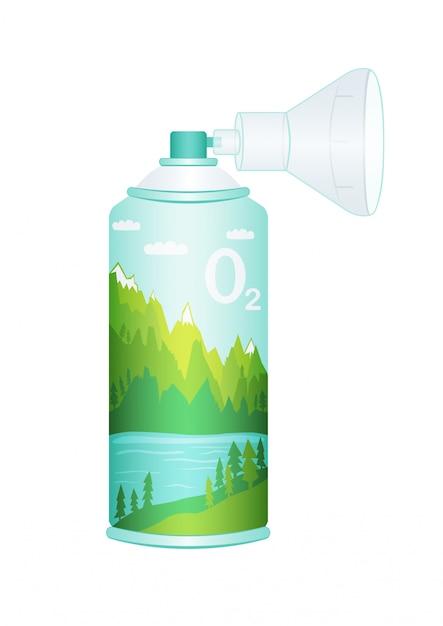 Zuurstofcilinder met gecomprimeerde zuivere bergzuurstof voor ademhaling. Premium Vector